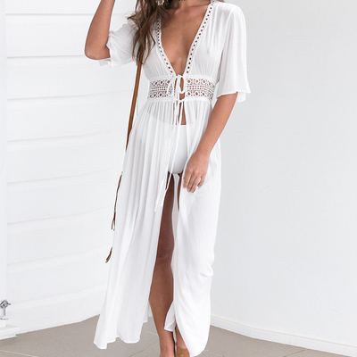 Wholesale Solid Color White Deep V Neck Half Sleeve Beach Cover Up Sexy Maxi Dress Beach Tunic With Slit
