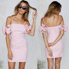 2018 New Arrivals Clothing Ruffled Sleeve Pink Gingham Women Dresses Summer