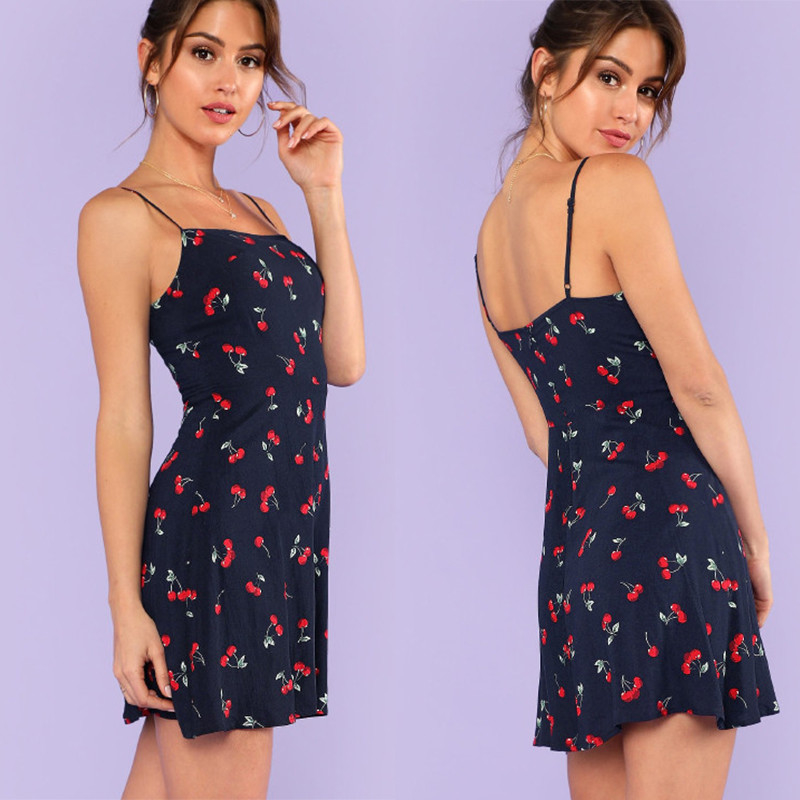 Fashion women's sweet mini slim fit dress with cherry printing